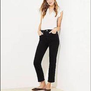 NWT Loft Black High Waist Straight Crop Jean